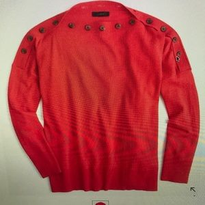 Jcrew red button boatneck sweater size L-XL